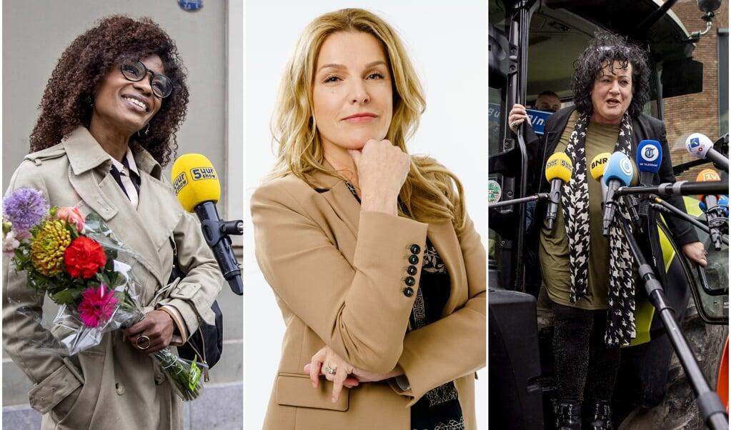 Sylvana Simons (BIJ1), Lucille Werner (CDA) en Caroline van der Plas (BBB).  (beeld epa / Remko de Waal, anp / Marco de Swart, epa / Remko de Waal)