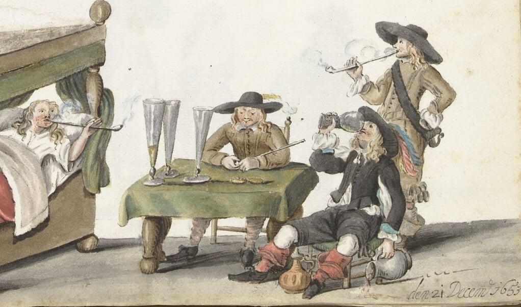 Een schilderij met rokende Nederlandse jongemannen in de zeventiende eeuw.  (beeld collectie Rijksmuseum Amsterdam / Gesina ter Borch, 1653)