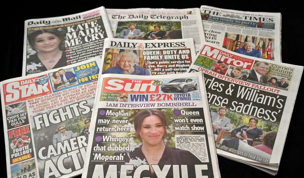 Het gesprek van Oprah Winfrey is voorpaginanieuws voor de Britse kranten.   (beeld afp / Glyn Kirk)