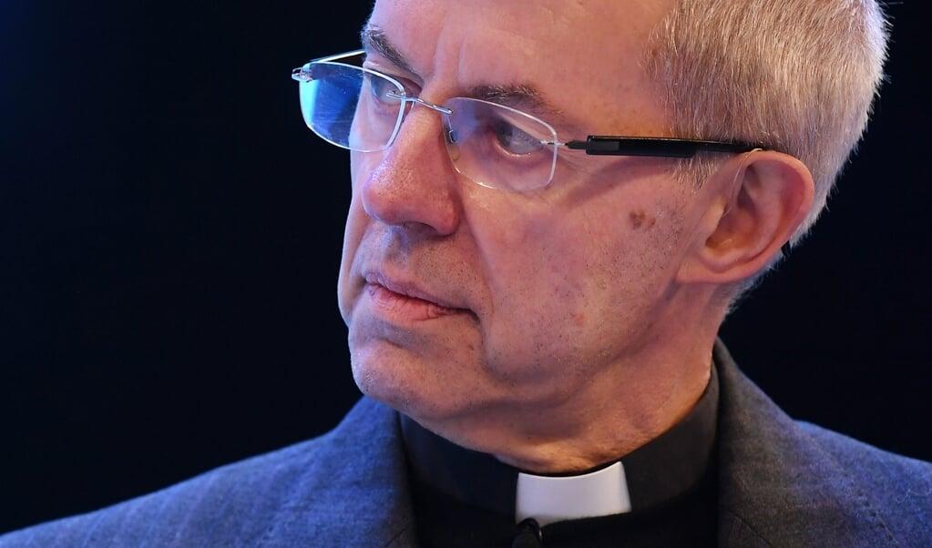 Zo praat je niet over mensen, is kort gezegd de boodschap van aartsbisschop Justin Welby aan de leider van de Anglicaanse Kerk in Nigeria.  (beeld epa / Andy Rain)