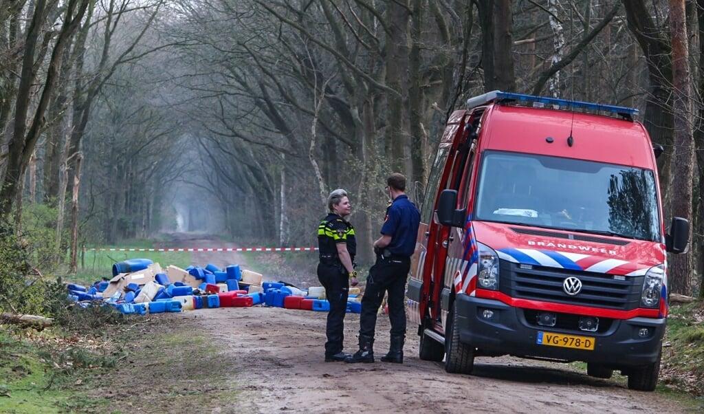 Op de Boslaan-Zuid in Best werd in 2018 een grote hoeveelheid drugsafval gevonden.  (beeld anp / Ginopress)