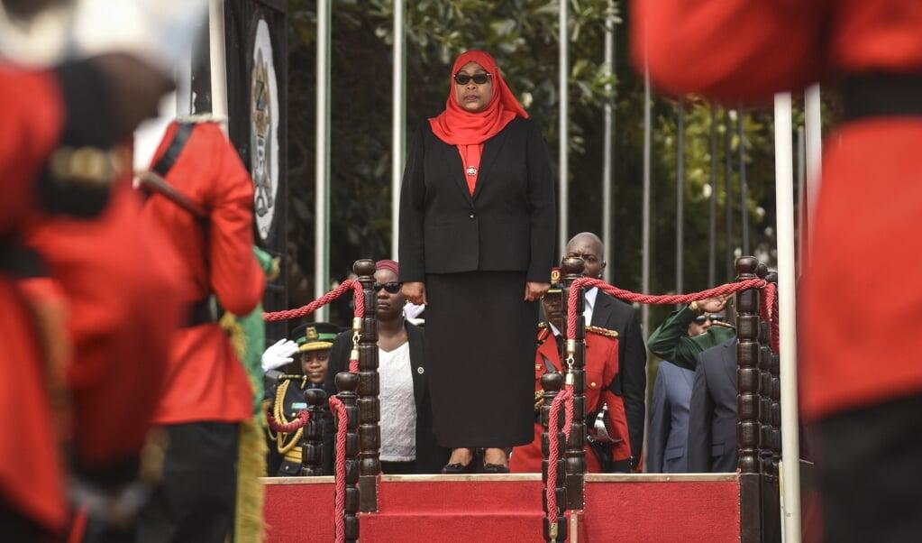 Samia Suluhu Hassan, kort nadat zij is ingezworen als leider van Tanzania.   (beeld afp)