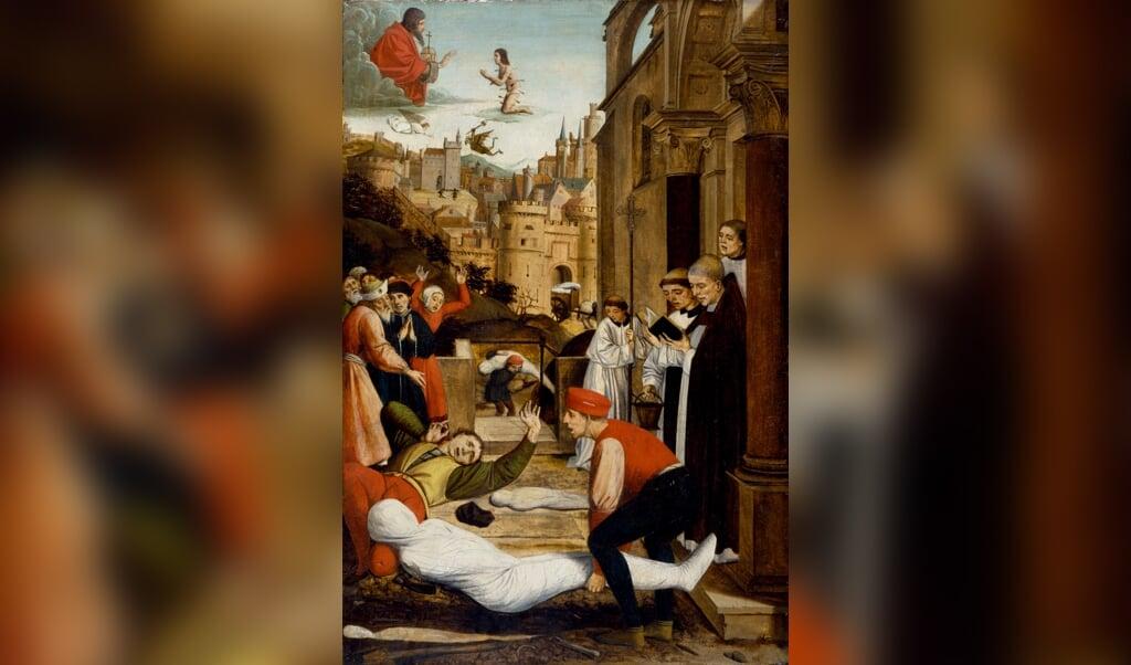 Josse Lieferinxe schilderde in 1497 voor de stad Pavia het smeken van Sint Sebastiaan voor de pestlijders.  (beeld museum het valkhof)
