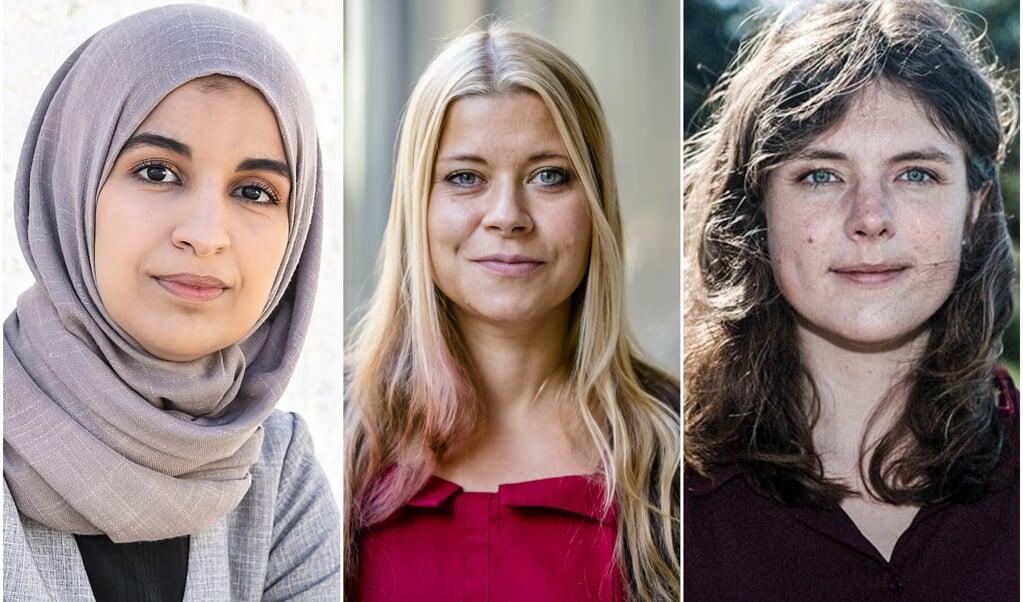 Kauthar Bouchallikht (GroenLinks), Lisa Westerveld (GroenLinks) en Marieke Koekkoek (Volt).  (beeld anp / Remko de Waal en Bart Maat, en voltnederland.org)
