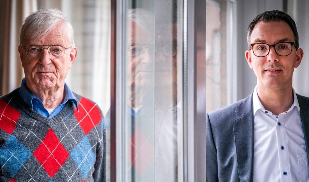 Bob Vuijk (links) en Adriaan Molenaar, twee dichters van De Nieuwe Psalmberijming.  (beeld Jeroen Jumelet)