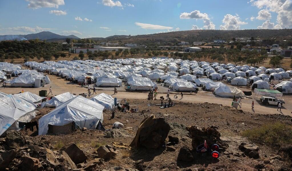 Het Kara Tepe kamp op Lesbos.  (beeld afp / Manolis Lagoutaris)