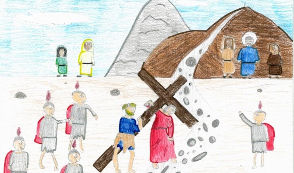 Een van de tekeningen die tijdens de Kruisweg in het Vaticaan zal worden getoond. De vijfde statie: Simon van Cyrene helpt Jezus het kruis dragen.  (beeld nd)