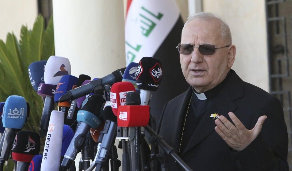 Kardinaal Louis Sako van de Chaldeeuws-Katholieke Kerk.   (beeld afp / Sabah Arar)
