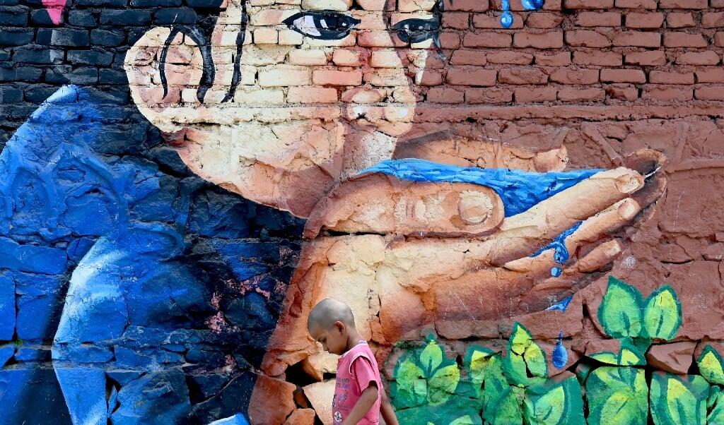 Met een milieuvriendelijke vernislaag kan kwetsbare straatkunst worden beschermd.  (beeld afp / Money Sharma)