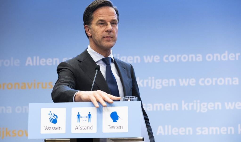 Demissionair premier Mark Rutte geeft een toelichting op de coronamaatregelen in Nederland. Het kabinet komt met een besluit over de versoepeling van de maatregelen. ANP SEM VAN DER WAL  (beeld anp / Sem van der Wal)