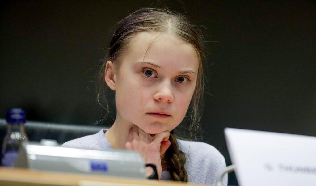 De Zweedse klimaatactivist Greta Thunberg, vorig jaar zomer tijdens een bijeenkomst in Brussel.  (beeld epa / Stephanie Le Cocq)