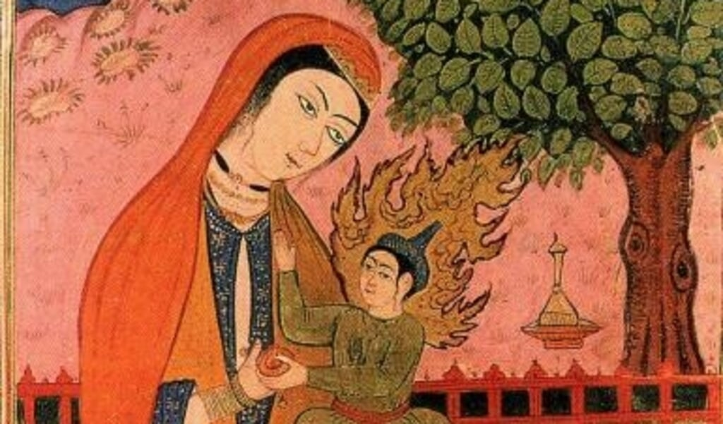 Jezus (Isa) en Maria (Maryam) op een Perzische miniatuur.  (beeld wikipedia)