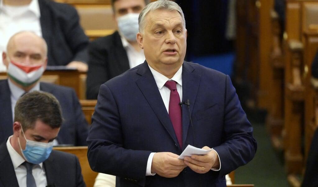 Premier Viktor Orban van Hongarije  (beeld Koszticsak Szilard / afp)