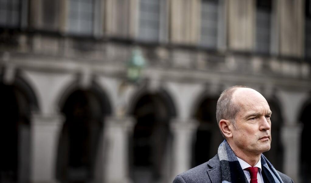Gert-Jan Segers na afloop van een gesprek met informateur Herman Tjeenk Willink.  (beeld anp / Remko de Waal)