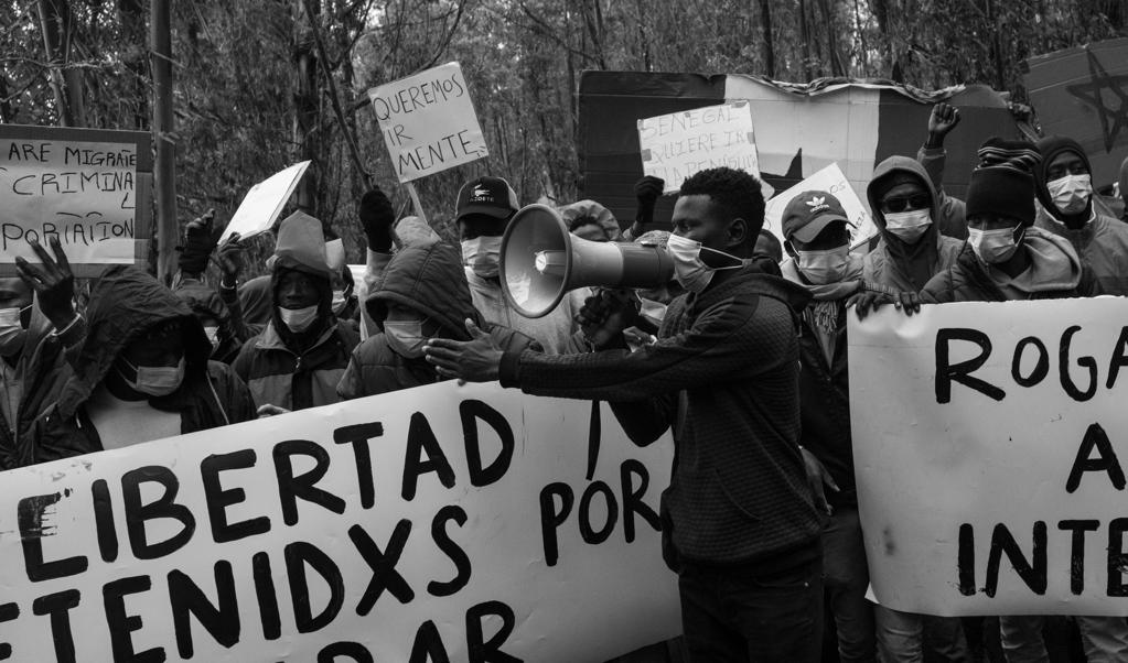 Solidariteitsdemonstratie in San Cristóbal de La Laguna, Tenerife.  (beeld Karol Grygoruk)