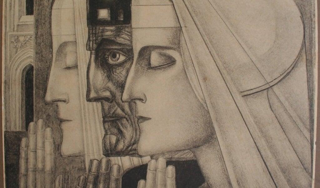 Jan Toorop: Gebed, een litho uit 1924.  (beeld nd)