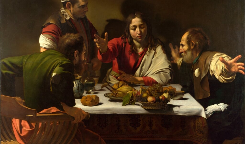 'Avondmaal in Emmaüs' van Caravaggio (1601)  (beeld national gallery londen)