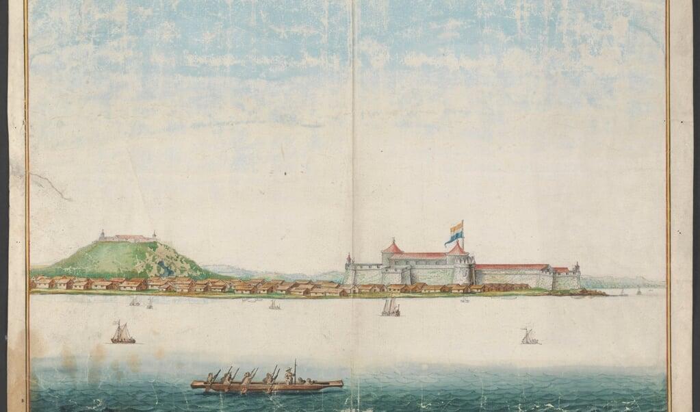 Fort Elmina in de zeventiende eeuw.  (beeld nationaal archief)