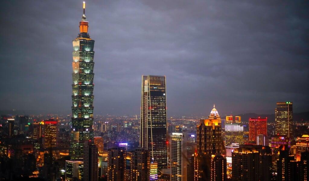 Het zakendistrict van Taipeh, de hoofdstad van Taiwan.  (beeld epa / Ritchie B. Tongo)