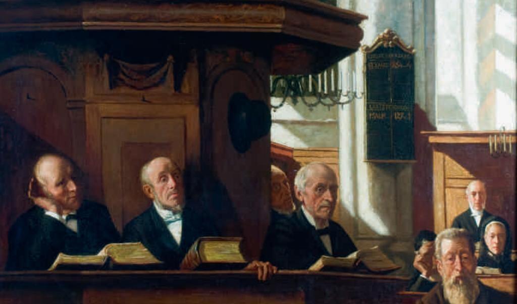 Ouderlingen in de Nieuwe Kerk in Amsterdam, 1894. Schilderij van Bernard de Hoog.  (beeld Bernard de Hoog)