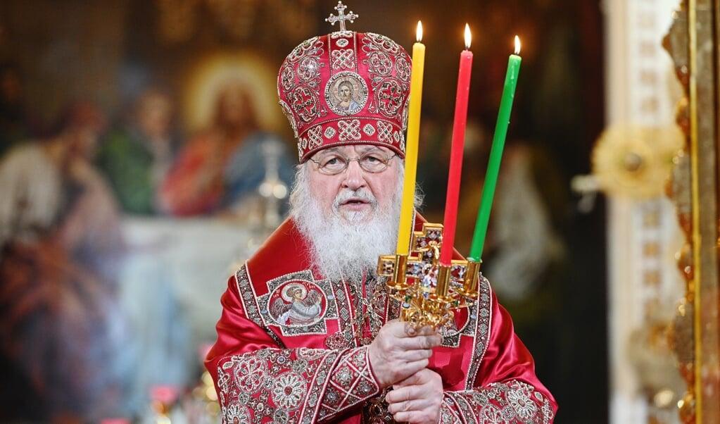 Patriarch Kiril van Moskou tijdens het Russisch-Orthodoxe paasfeest.  (beeld Epa / Oleg Varov )