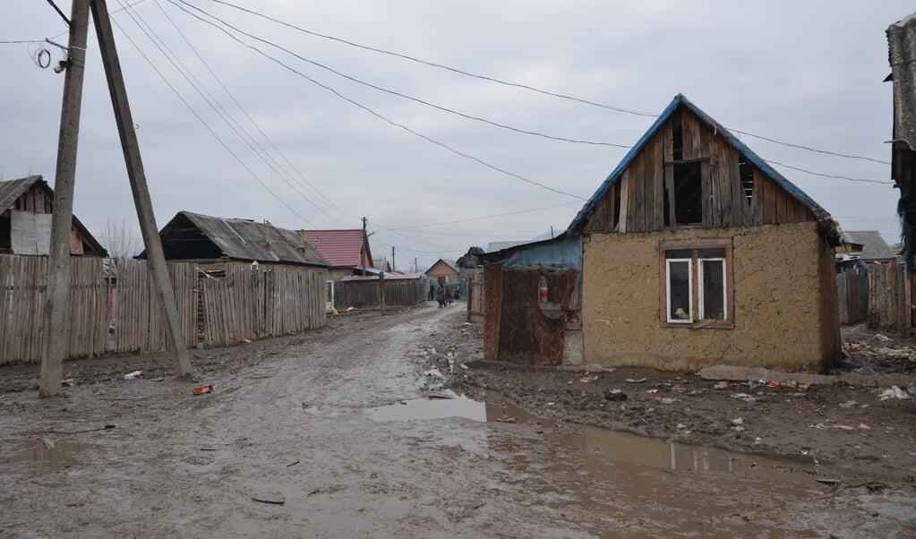 Roma-wijk in Oekraïne.  (beeld christian roma support)