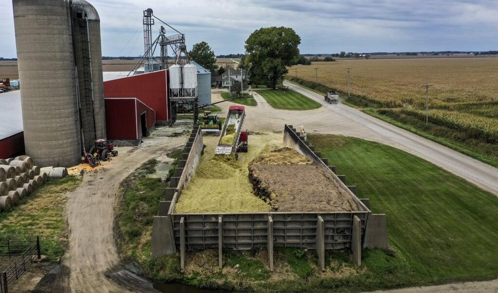 Maisoogst in de Amerikaanse staat Illinois, oktober 2019. Uit de mais wordt onder meer ethanol gewonnen, de productie ervan 'wordt eveneens door de Amerikaanse overheid gestimuleerd met regelgeving en subsidies'.  (beeld epa / Tannen Maury)