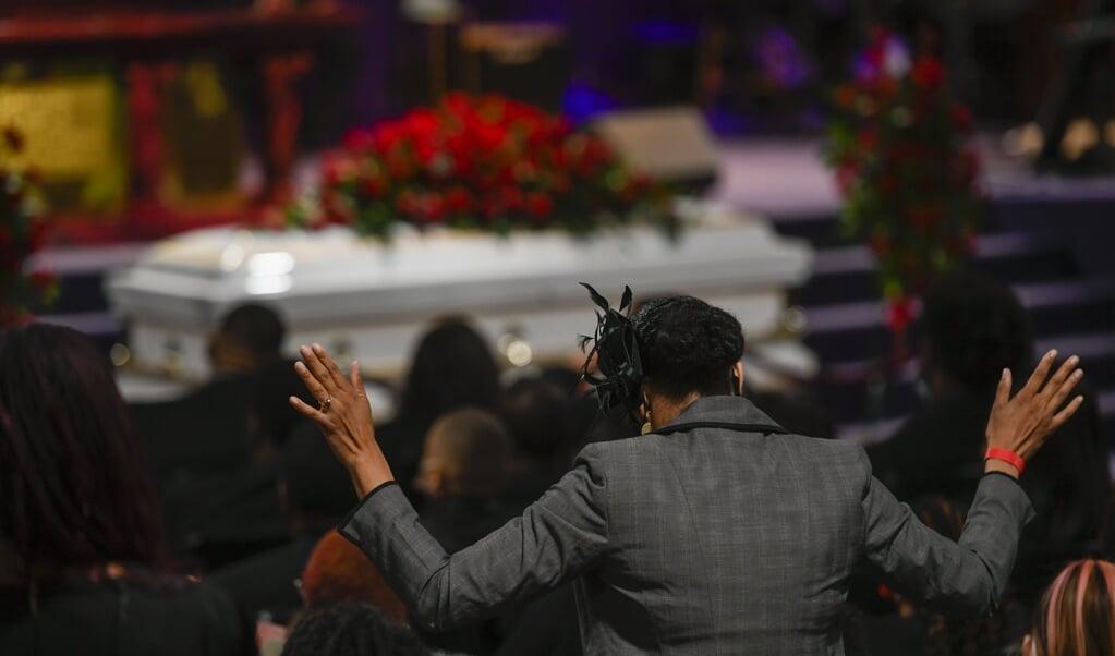 De begrafenis van Daunte Wright, 22 april, een 20-jarige man die werd neergeschoten door een politieagente.  (beeld epa / Craig Lassig)