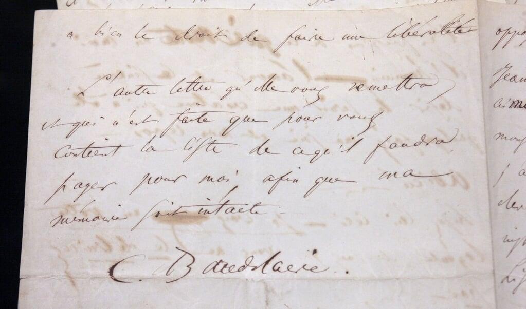 Een brief van Charles Baudelaire  (beeld afp / Francois Guillot)