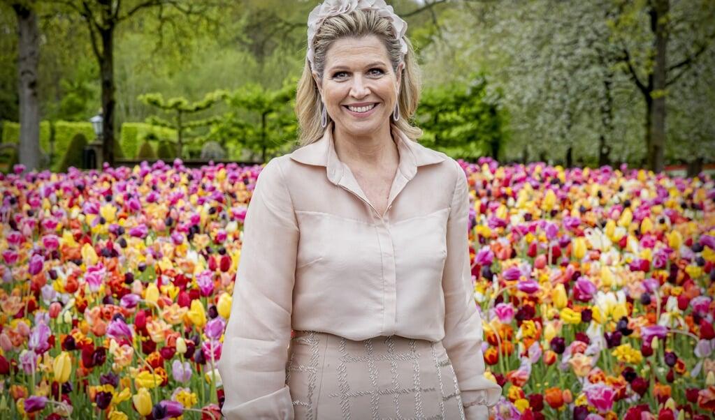 Koningin Maxima bezoekt de Keukenhof voor de ondertekening van het muziekakkoord Zuid-Holland en Zeeland van Méér Muziek in de Klas, op 11 mei.  (beeld anp / Patrick van Katwijk)