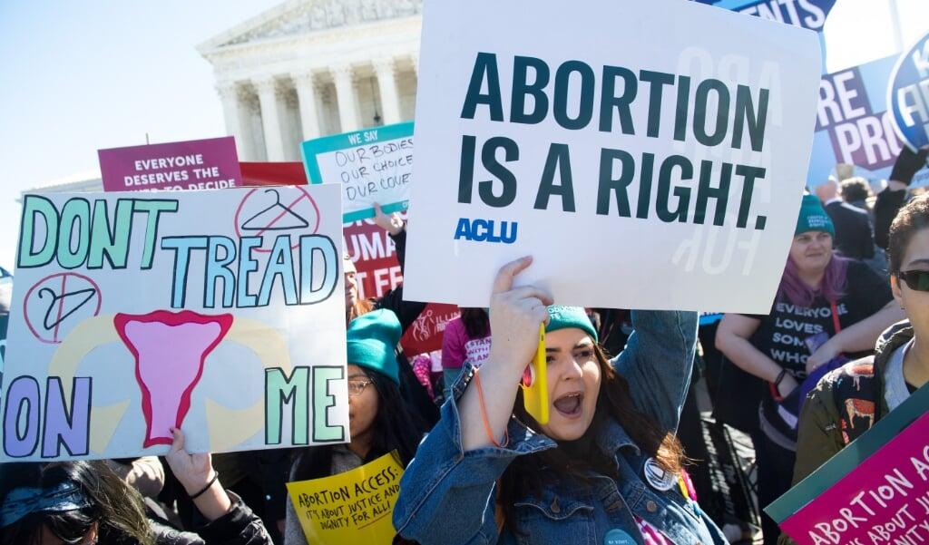 Voorstanders van abortus tijdens een demonstratie in Washington, maart vorig jaar.   (beeld afp / Saul Loeb)
