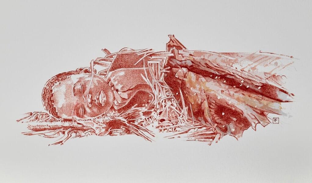 Reconstructie van het begraven kind.  (beeld Fernando Fueyo)