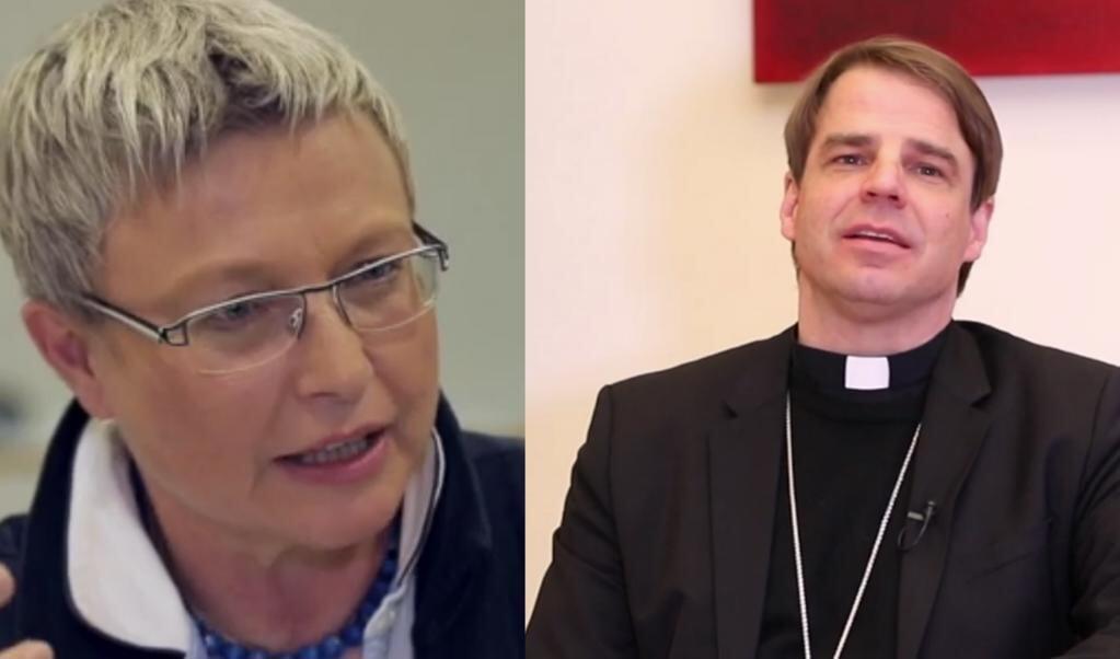 Prof. Johanna Rahner (links) en bisschop Stefan Oster (rechts)  (beeld Youtube)