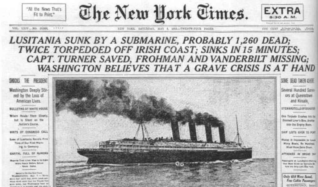 De voorpagina van 'The New York Times' bericht over de scheepsramp, 8 mei 1915.  (beeld New York Times / Wikimedia)