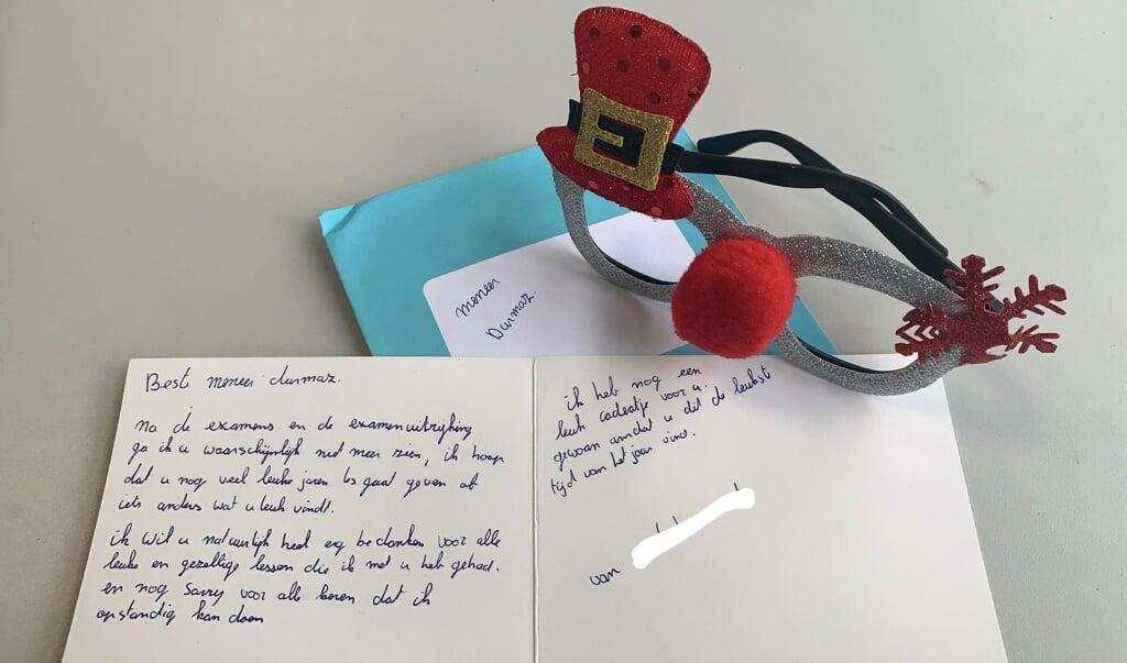 Het bedankkaartje van een leerling die anoniem wil blijven.  (beeld yasin)