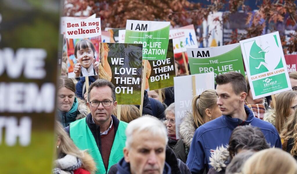 Manifestatie van Schreeuw om Leven in Utrecht, november 2019.   (beeld anp / Jaco Klamer)