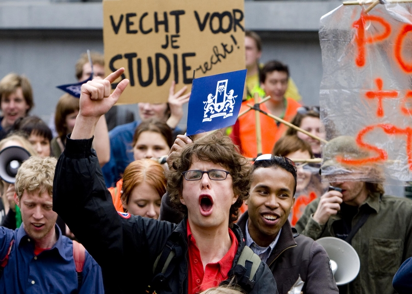 Studenten demonstreren in centrum Den Haag