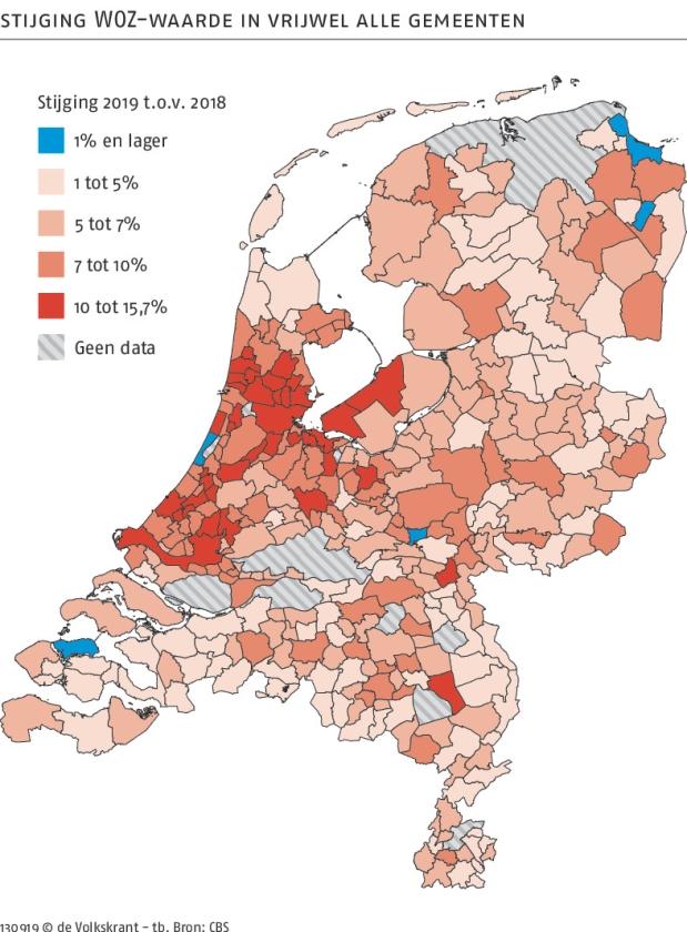 Nog nooit lag de WOZ-waarde van een huis in Nederland zo hoog   (vk)