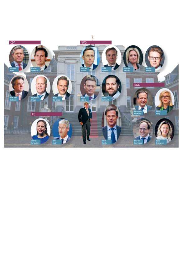 Dit zijn de mannen en vrouwen die in beeld zijn voor een ministerspost in het nieuwe kabinet. Er moeten er nog twee afvallen voordat ze bij de koning op het bordes kunnen staan. Maar er kunnen natuurlijk ook nog nieuwe namen opkomen, de komende weken.   (anp)