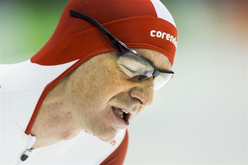 Schaatser Bob de Jong tijdens de 10.000 meter op het NK afstanden.  (anp / Vincent Jannink)