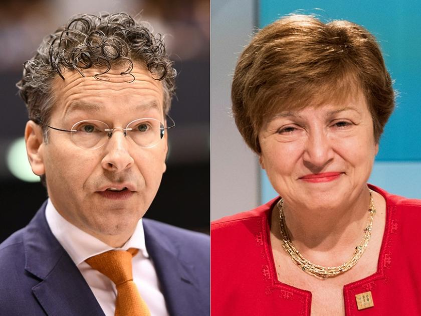 Jeroen Dijsselbloem zag vrijdag het leiderschap van het IMF aan zijn neus voorbijgaan. De functie ging naar de Bulgaarse Kristalina Georgieva.  (afp / Joe Klamar en Emmanual Dunand)