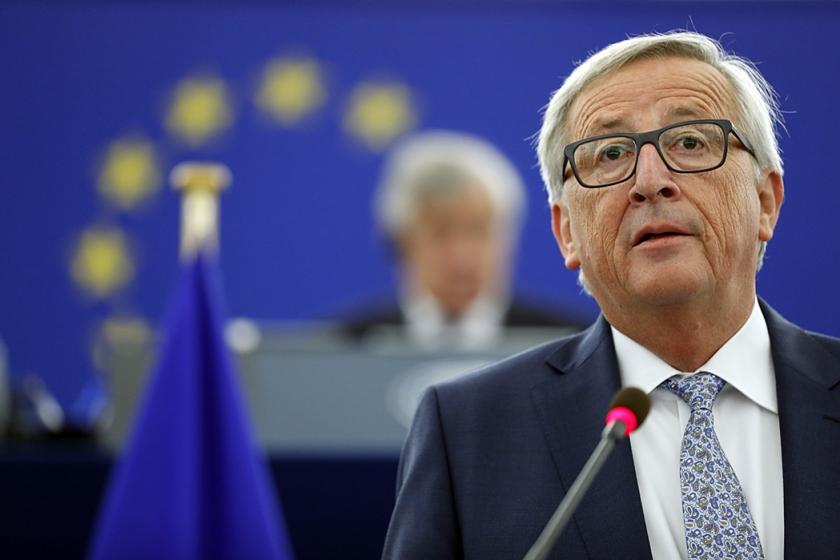 Jean-Claude Juncker spreekt zijn 'Staat van de Unie' uit in Straatsburg.  (ap / Jean-Francois Badias)
