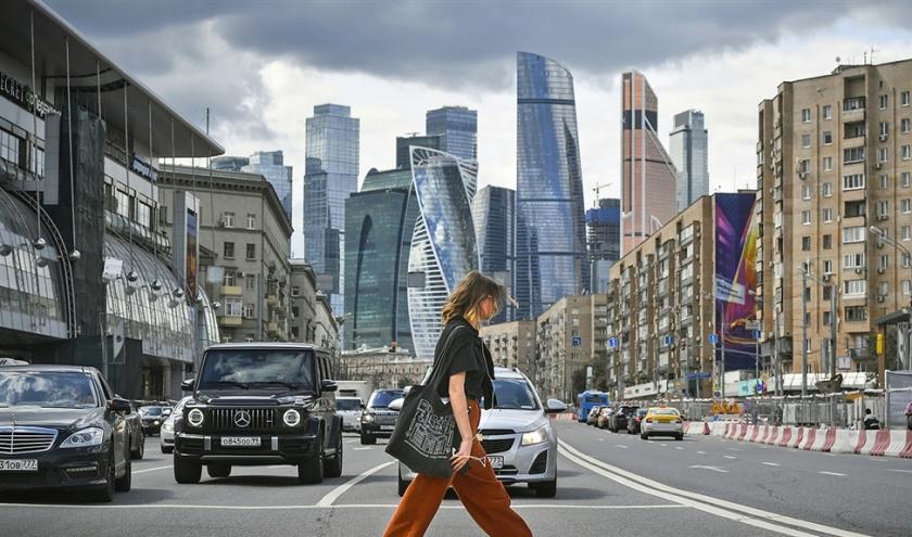 De wolkenkrabbers van het Moskouse International Business Centre, ook wel bekend als 'Moskva-City' waar familieleden van de Syrische president Assad een deel van hun fortuin hebben ondergebracht.  (afp / Alexander Nemenov)