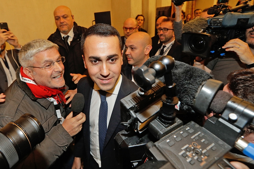 Luigi Di Maio, lijsttrekker van de Vijfsterrenbeweging: 'Vandaag begint de Derde Republiek. Een republiek die nu eens echt van het Italiaanse volk is.'  (ap / Andrew Medichini)