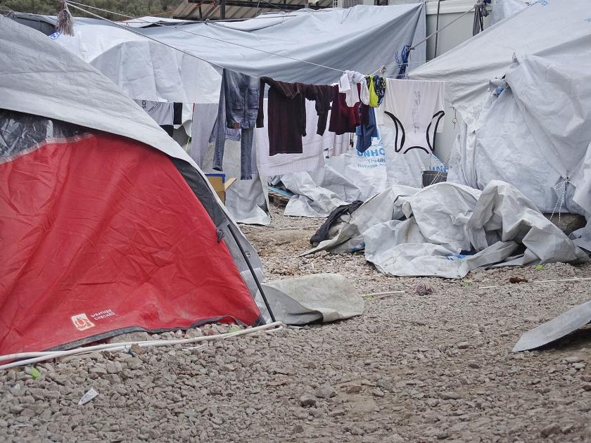 Erbarmelijke leefomstandigheden in het vluchtelingenkamp Moria op Lesbos.  (anp / Arie Kievit)