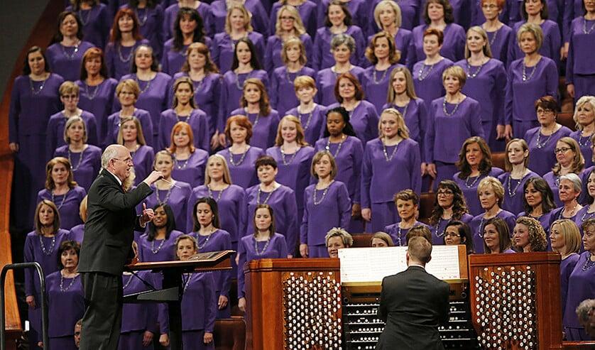 Het beroemde Tabernacle Choir at Temple Square tijdens een uitvoering.  (ap / Rick Bowmer)
