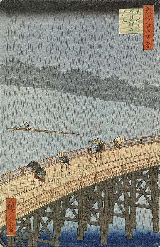 Onverwachte avondbui op de Grote brug bij Atake, Utagawa Hiroshige (1857).   (van gogh museum)