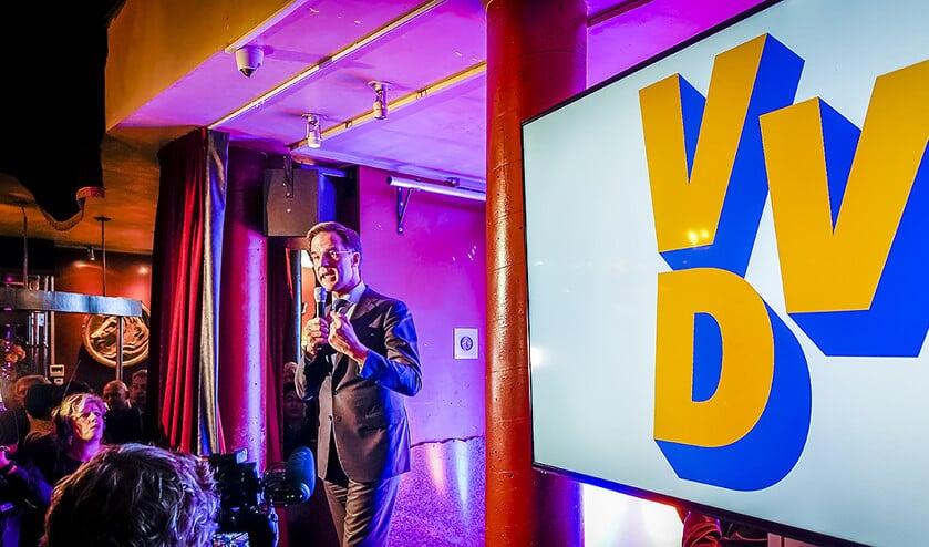 Lijsttrekker Mark Rutte van de VVD tijdens de uitslagenavond.  (anp / Lex van Lieshout)