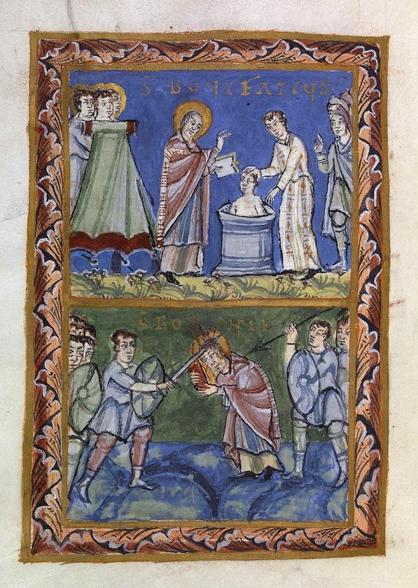 Bonifatius doopt de Friese heidenen en sterft de marteldood.   (uitgeverij wijdemeer)