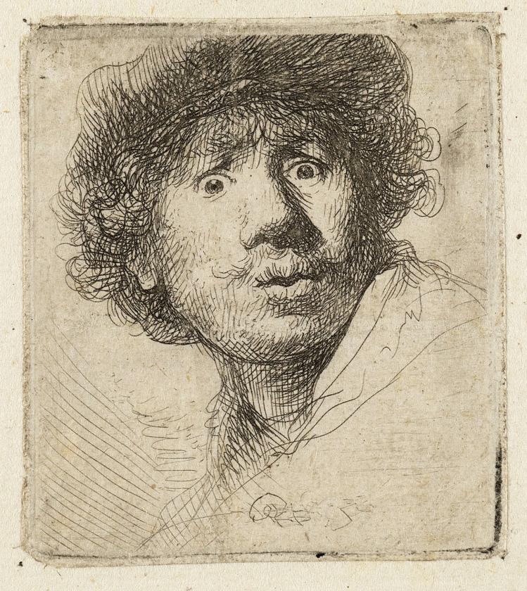 Zelfportret van Rembrandt. Een ets uit 1636.  (nd)